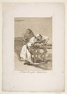 Be quick, They Are Waking Up (Despacha, que dispiertan), from The Caprices (Los Caprichos), plate 78