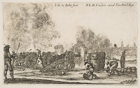 Battery of Cannons Firing on a City