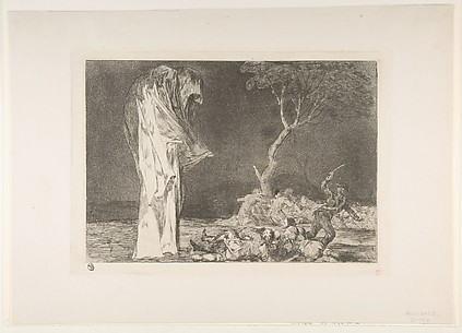 Soldiers Frightened by a Phantom, from the series, Disparates(Follies), or Proverbios, plate 2