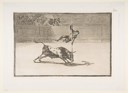 The Agility and Audacity of Juanito Apinani in the Ring at Madrid (Ligereza y atrevimiento de Juanito Apinani en la de Madrid), from The Bullfight, plate 20