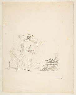 Men Spitting at a Fire