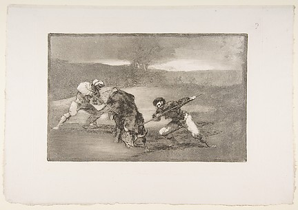 Another way of hunting on foot, plate 2 of La Tauromaquia