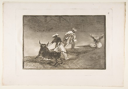 They play another with the cape in an enclosure, plate 4 of La Tauromaquia