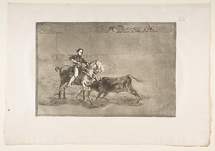 Manly courage of the celebrated Panjuelera in [the ring] at Saragosa, plate 22 of La Tauromaquia