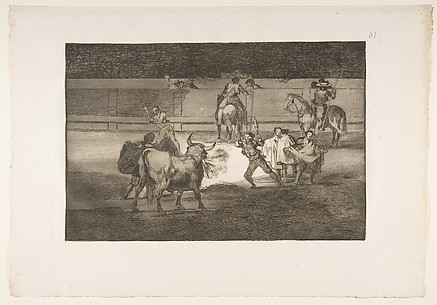 Banderillas with firecrackers, plate 31 of La Tauromaquia