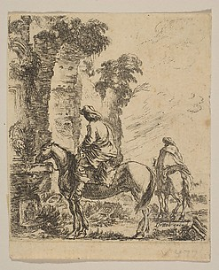 Landscape with a Cavalier Watering His Horse at a Fountain