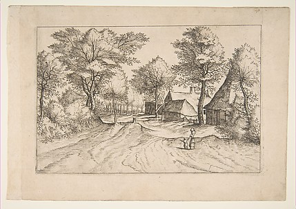 Village Road with a Farm and Sheds, from the series, The Small Landscapes (Multifariarum Casularum)