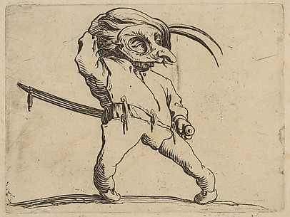 L'Homme Masqué aux Jambes Torses (The Masked Man with Crooked Legs), from Varie Figure Gobbi, suite appelée aussi Les Bossus, Les Pygmées, Les Nains Grotesques (Various Hunchbacked Figures, The Hunchbacks, The Pygmes, The Grotesque Dwarfs)