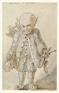 Caricature of  a Junkman [recto], Caricature of a School Master [verso]