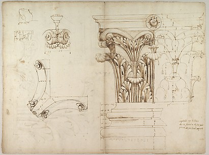 St. Peter's, Corinthian capital, elevation; base, elevation; volute, end elevation, profile, and view from below (recto) St. Peter's, Corinthian capital, acanthus leaf details and profiles of two cornice mouldings (verso)