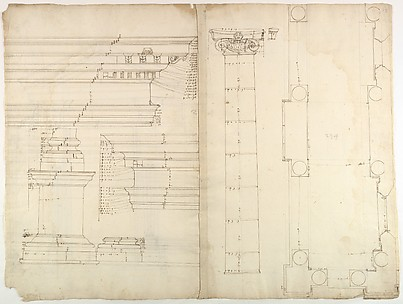 Palazzo dei Conservatori, portico, plan; façade cornice, elevation; minor order, cornice; column, elevation; pedestal, elevation (recto) Palazzo dei Conservatori, portal, elevation; section (verso)