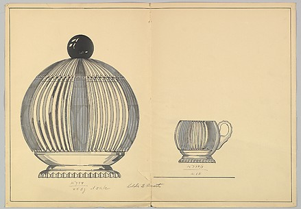 Design for a Silver Lidded Bowl and Matching Cup