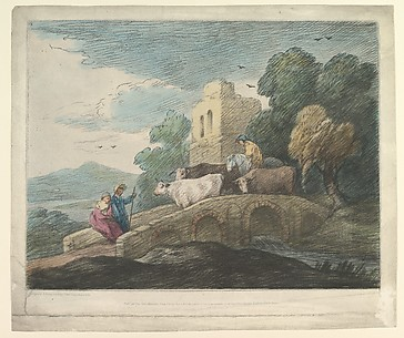 Wooded Landscape with Herdsmen Driving Cattle over a Bridge, Rustic Lovers and Ruined Castle