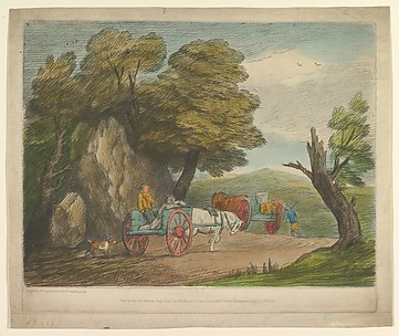 Wooded Landscape with Two Country Carts and Figures
