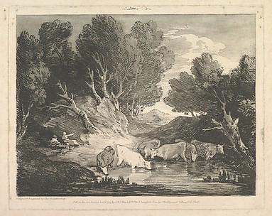 Wooded Landscape with Figures and Cows at a Watering Place (The Watering Place)