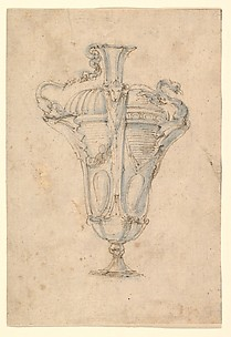 Design for a Ewer with Alternative Ideas for Fluted Decoration, a Handle in the Form of a Swan Attacking a Serpent, and a Spout in the Form of a Swan