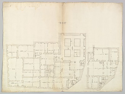 Unidentified palace, plan (recto) blank (verso)