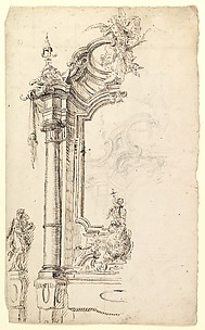 Study for an Altar with a Figure on a Raised Socle at Left; verso: Study for an Altar with a Figure of an Angel or Saint