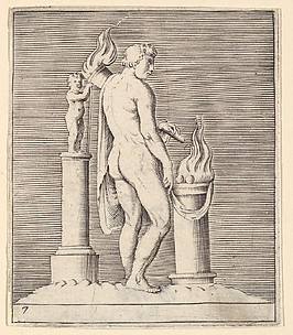 Man with Torch between Flaming Altar and Statuette