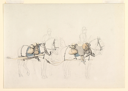 Studies of Four Horses with Two Horsemen