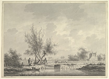 View of a Bridge in the Dutch Countryside with Figures