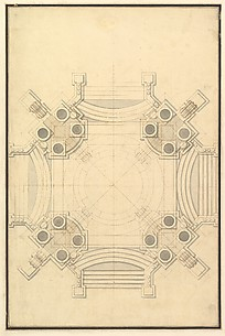 Ground Plan for Catafalque for Johann Wilhelm, Count Palatine of the Rhine (d. 1716).