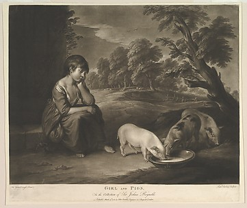 Girl and Pigs