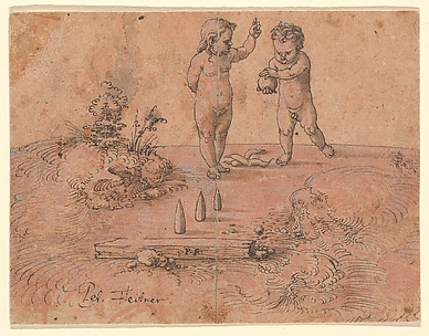 Two Children Playing with a Ball