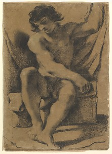 Seated Nude Young Man in Nearly Frontal View
