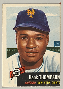 Card Number 20, Henry Thompson, Outfielder, New York Giants, from the series Topps Dugout Quiz (R414-7) issued by Topps Chewing Gum Company