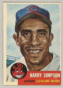 Card Number 150, Harry Simpson, Outfielder, Cleveland Indians, from the series Topps Dugout Quiz (R414-7), issued by Topps Chewing Gum Company