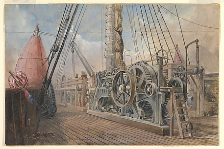 Deck of the Great Eastern, the cable trough, etc., 1866