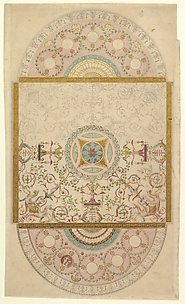 Design for a Ceiling with Square Central Compartment and Semicircular Ends, the Ornament of Foliage and Grotesque Motifs