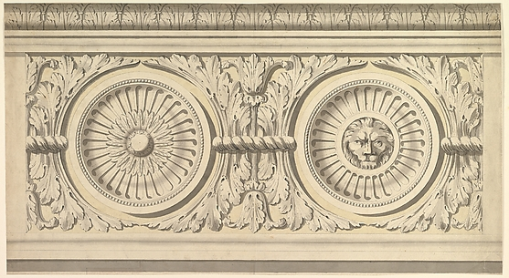 Design for a Frieze, Ornamented with Lion's Head Paterae