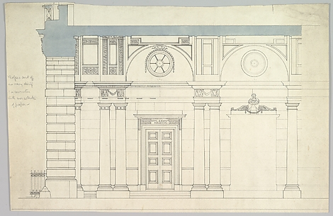Somerset House, London: Interior Section with Paired Columns and Arched Ceiling
