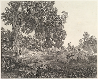 Ideal Landscape with Sleeping Shepherd and Sheep