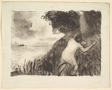 Bather Standing Among Grasses at the Shore