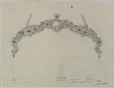 Design for a Silver Clasp for a Purse, adorned with Semi-precious Stones and a Chain