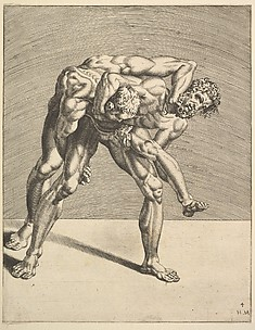 Two Wrestlers, from Wrestlers, plate 4