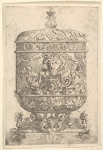 Covered Goblet with Grotesques on a White Background