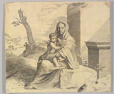 Virgin and Child Seated on a Rock (Vierge  l&#39;Enfant dans des ruines)