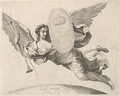 Fame Bearing a Shield with the Initial of Louis XIV (La Renommée volant)