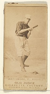 Mattimore, Pitcher, Philadelphia Athletics, from the Old Judge series (N172) for Old Judge Cigarettes