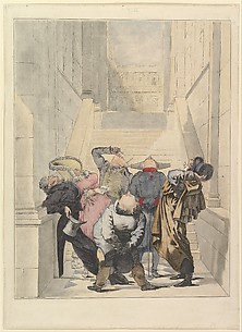 Visitors to the Salon Exhibition, Admiring the Ceiling (Les Amateurs de plafonds au Salon)