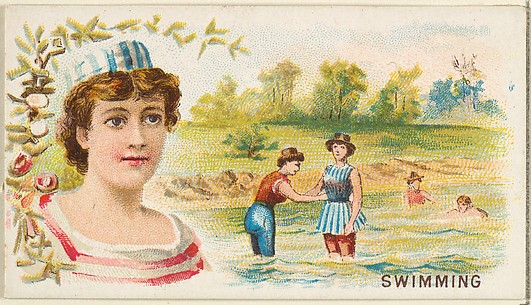 Swimming, from the Games and Sports series (N165) for Old Judge Cigarettes