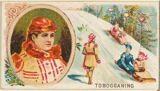 Tobogganing, from the Games and Sports series (N165) for Old Judge Cigarettes