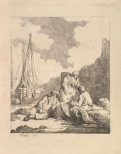 Fishermen by the Shore – Coastal Scene with a Man Sitting on the Ground Resting an Elbow on a Fishing Basket, Another Man Opposite Mending a Sail, and a Woman Standing Between Them Carrying a Basket on Her Back (from Imitations of Modern Drawings)