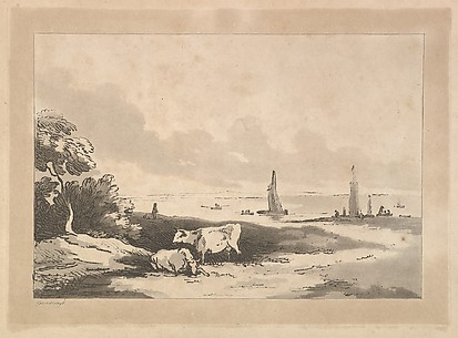 Shore Scene With Cattle in the Foreground and Boats in Shallow Water at Right (from Imitations of Modern Drawings)