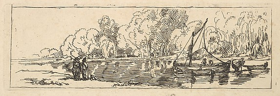A Sailboat and Dingy on a River or Pond Watched by Two Figures on the Bank (from Imitations of Modern Drawings)