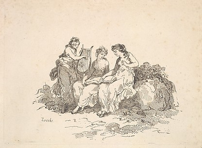 Harmony – Two Nymphs Singing, Another Playing a Lyre (from Imitations of Modern Drawings)
